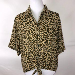 Sanctuary Animal/Leopard Print Tie Front Blouse -M